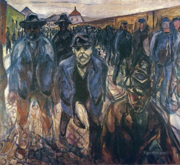 Edvard Munch Painting - workers on their way home 1915 Edvard Munch