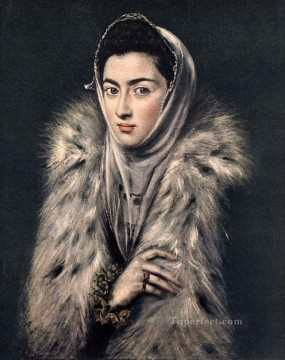 spanish spain Painting - Lady with a Fur 1577 Mannerism Spanish Renaissance El Greco