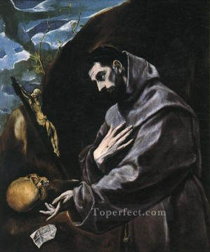 spanish spain Painting - St Francis Praying 1580 Mannerism Spanish Renaissance El Greco