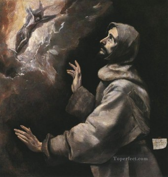 renaissance Painting - St Francis Receiving the Stigmata 1577 Mannerism Spanish Renaissance El Greco