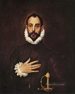 Hand Canvas - The Knight with His Hand on His Breast 1577 Mannerism Spanish Renaissance El Greco