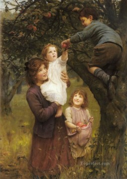 idyllic Painting - Picking Apples idyllic children Arthur John Elsley