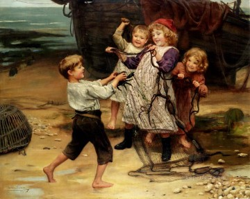 cat Art Painting - The Days Catch idyllic children Arthur John Elsley