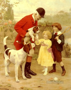 child Painting - The Huntsmans Pet idyllic children Arthur John Elsley