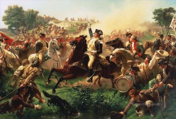 Washington Canvas - Washington Rallying the Troops at Monmouth American Revolution Emanuel Leutze