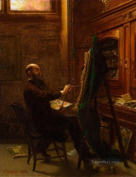 Emanuel Oil Painting - Worthington Whittredge in His Tenth Street Studio Emanuel Leutze