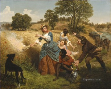Emanuel Oil Painting - Mrs Schuyler Burning Her Wheat Fields on the Approach of the British Emanuel Leutze