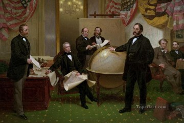 Emanuel Oil Painting - Signing the Alaska Treaty of Cessation Emanuel Leutze