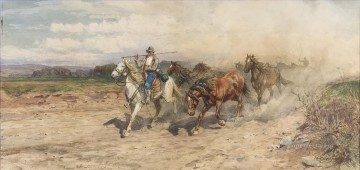 Butteri and genre at full gallop Enrico Coleman genre Oil Paintings