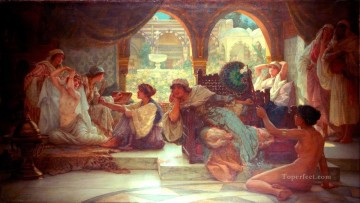 women Painting - Moorish Scene with Women Ernest Normand Victorian