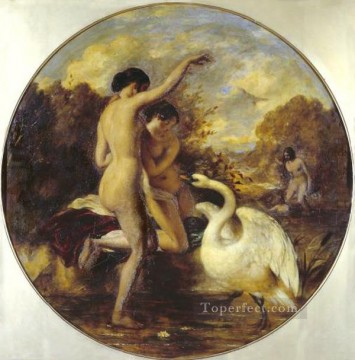 bath girl oil painting Painting - Female Bathers Surprised by a Swan William Etty