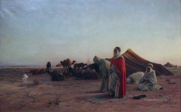 Artworks by 350 Famous Artists Painting - Priere dans le desert praying Eugene Girardet Orientalist