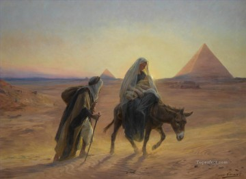 Artworks by 350 Famous Artists Painting - Flight into Egypt Eugene Girardet Orientalist