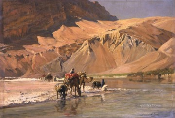 Artworks by 350 Famous Artists Painting - La riviere a El Kantara Eugene Girardet Orientalist