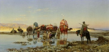 cross - Arab Caravan Crossing a Ford Eugene Girardet Orientalist