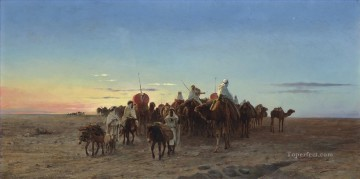 eugene works - The caravan at dusk Eugene Girardet Orientalist