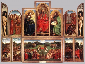 renaissance Painting - The Ghent Altarpiece wings open Renaissance Jan van Eyck