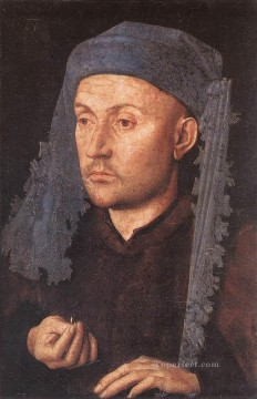 renaissance Painting - Portrait of a Goldsmith Man with Ring Renaissance Jan van Eyck