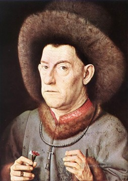 renaissance Painting - Portrait of a Man with Carnation Renaissance Jan van Eyck