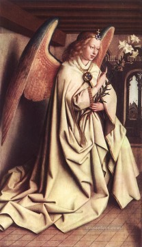 Altarpiece Painting - The Ghent Altarpiece Angel of the Annunciation Renaissance Jan van Eyck