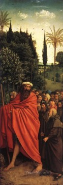 Altarpiece Painting - The Ghent Altarpiece Adoration of the Lamb The Holy Pilgrims Renaissance Jan van Eyck