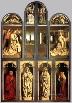 Altarpiece Painting - The Ghent Altarpiece wings closed Renaissance Jan van Eyck