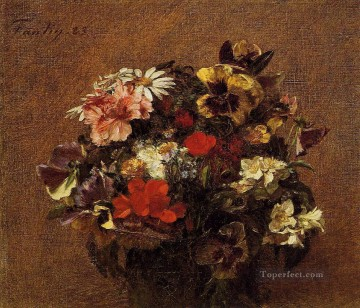 flowers - Bouquet of Flowers Pansies Henri Fantin Latour