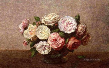rose roses Painting - Bowl of Roses Henri Fantin Latour