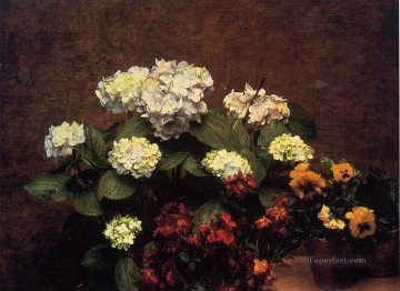 Pansies Painting - Hydrangias Cloves and Two Pots of Pansies Henri Fantin Latour