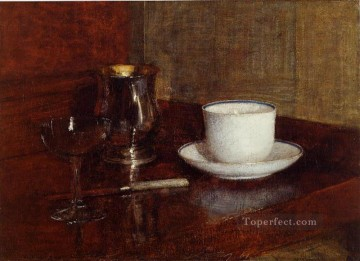 glass Painting - Still Life Glass Silver Goblet and Cup of Champagne still life Henri Fantin Latour