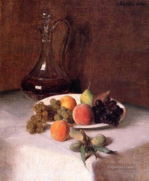 Wine Painting - A Carafe of Wine and Plate of Fruit on a White Tablecloth Henri Fantin Latour