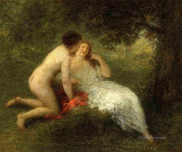 bath girl oil painting Painting - Bathers aka The Secret Henri Fantin Latour