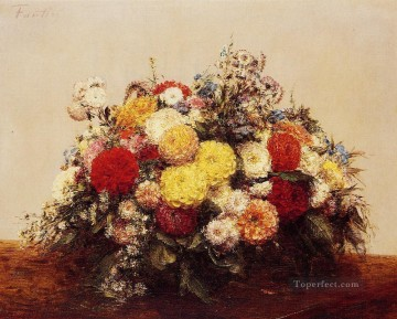 flowers - Large Vase of Dahlias and Assorted Flowers Henri Fantin Latour