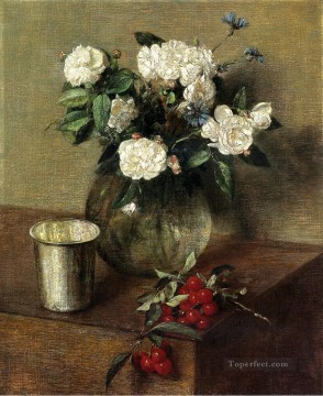 rose roses Painting - White Roses and Cherries Henri Fantin Latour