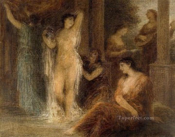 bath girl oil painting Painting - The Bath Henri Fantin Latour