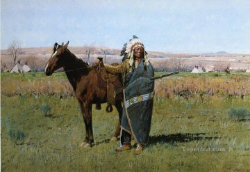 Henry Farny Painting - Chief Spotted Tail west Indian native Americans Henry Farny