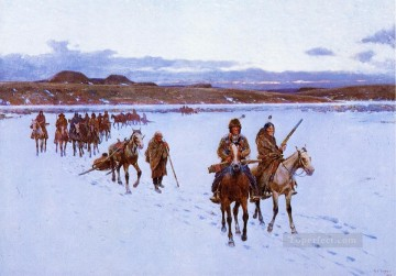 American Art Painting - Departure for the Buffalo Hunt west Indian native Americans Henry Farny