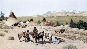 American Art Painting - Indian Encampment west native Americans Henry Farny