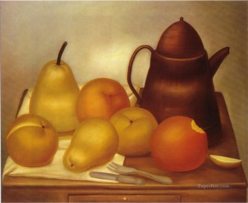 Still Life with Coffee Pot Fernando Botero Oil Paintings