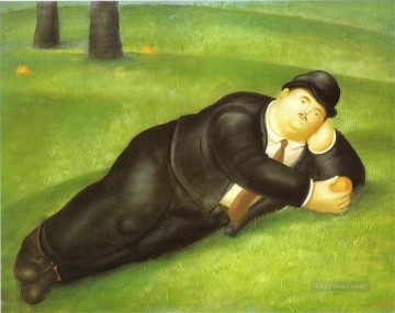 Man Reclining Fernando Botero Oil Paintings