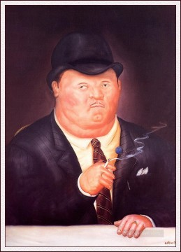 Man Smoking Fernando Botero Oil Paintings
