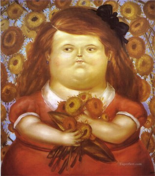 Woman with Flowers Fernando Botero Oil Paintings