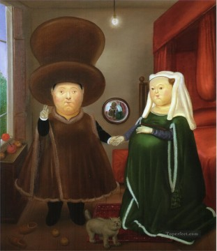 After the Arnolfini Van Eyck Fernando Botero Oil Paintings
