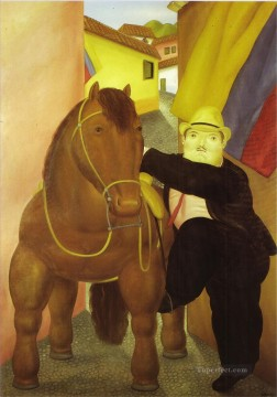 horse canvas - Man and Horse Fernando Botero