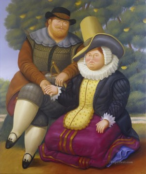 Wife Deco Art - Rubens and His Wife 2 Fernando Botero
