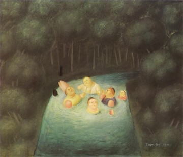 Bathing Bishops in a River Fernando Botero Oil Paintings