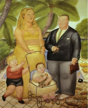 Paradise Art - Frank Lloyd and His Family in Paradise Island Fernando Botero