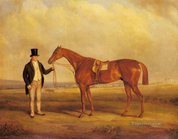 Ferneley Oil Painting - A Gentleman Holding Dangerous horse John Ferneley Snr