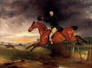 John Ferneley Painting - Mr George Marriott On His Bay Hunter Taking A Fence horse John Ferneley Snr