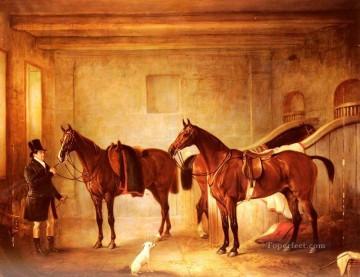horse Art Painting - Sir John Thorold Bay Hunters With Their Groom In A Stable horse John Ferneley Snr